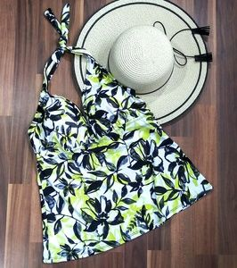 NWT Swimsuits for all Tankini WHT BLK YEL Sz 12